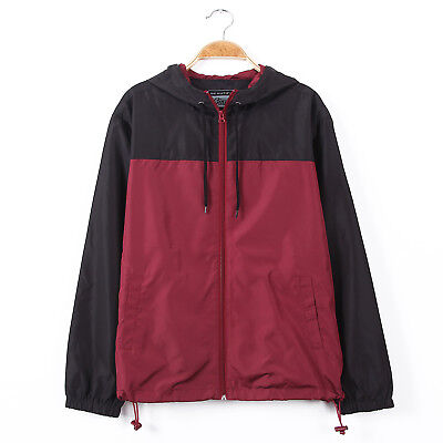 Mens Color Block Hood Lightweight Windbreaker Zip up Water R