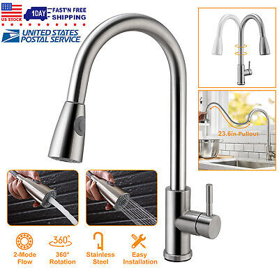 Kitchen Sink Faucet Brushed Nickel Pull Out Head Sprayer Single Handle Mixer Tap