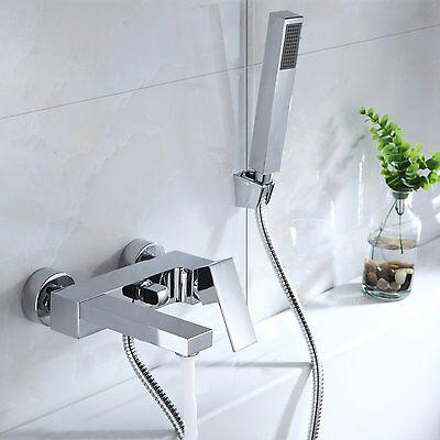 Bad Wannenarmatur Duscharmatur Badwanne Wasserhahn Duschset mit Handbrause Eckig