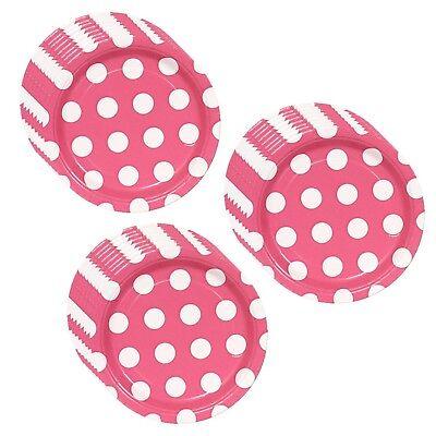 Hot Pink Polka Dot Party Dessert Plates - 24 plates
