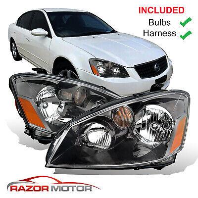 2005-06 Replacement Black Headlights Pair For Nissan Altima 4 Door Sedan w/Bulbs