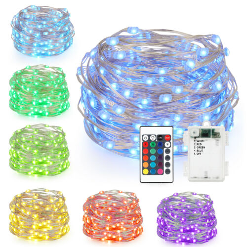 16ft 50LED Copper Battery Powered Multi Color Changing String Lights With Remote