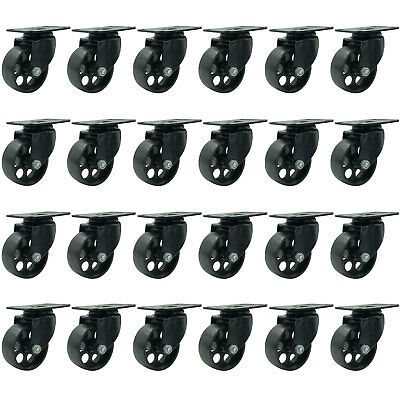 24 All Black Metal Swivel Plate Caster Wheels Heavy Duty 3 No Brake