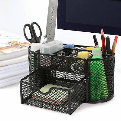 Desk Office Table Organizer Supplies Metal Mesh Pen Pencil Holder Storage Black