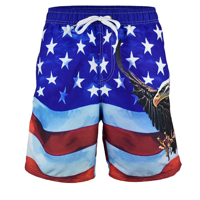 MEN'S American FLAG  SWIM TRUNK BOARD SHORTS BALD EAGLE OLD