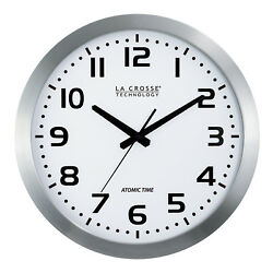 BBB85654 La Crosse Technology 16 Atomic Metal Analog Wall Clock -White NIB