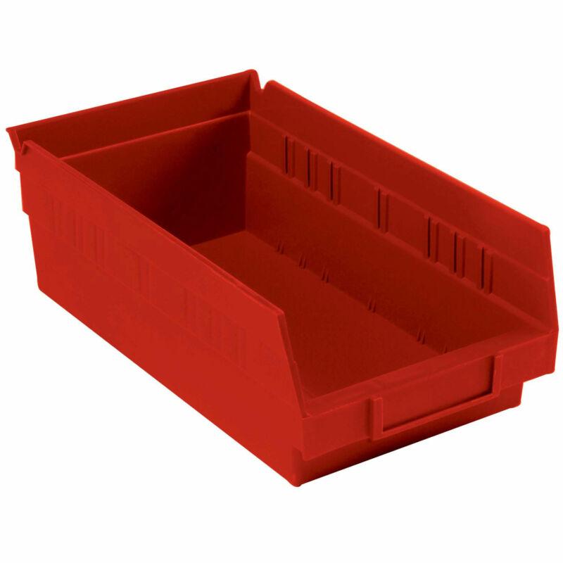 "Nestable Shelf Storage Bin, Plastic, 6-5/8""W x 11-5/8"" D x 4""H, Red, Lot of 12"