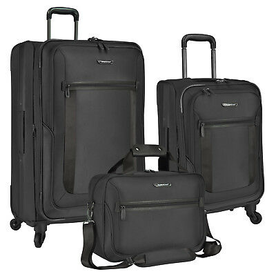 St Augustine 3-Piece Ballistic Nylon Expandable Spinner Luggage and Tote Bag Set Ballistic Nylon Luggage Sets