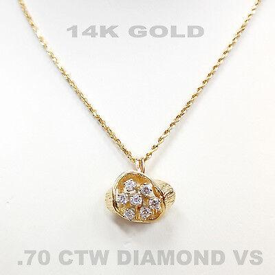 VINTAGE.70 CTW DIAMOND VS 14K YELLOW GOLD PENDANT NECKLACE