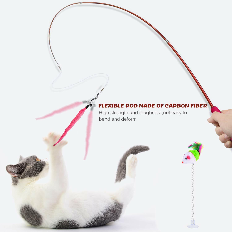 SUPER CAT TOY WAND RETRACTABLE ~ PET CATCHER ~ Plush Worm Cat Supplies