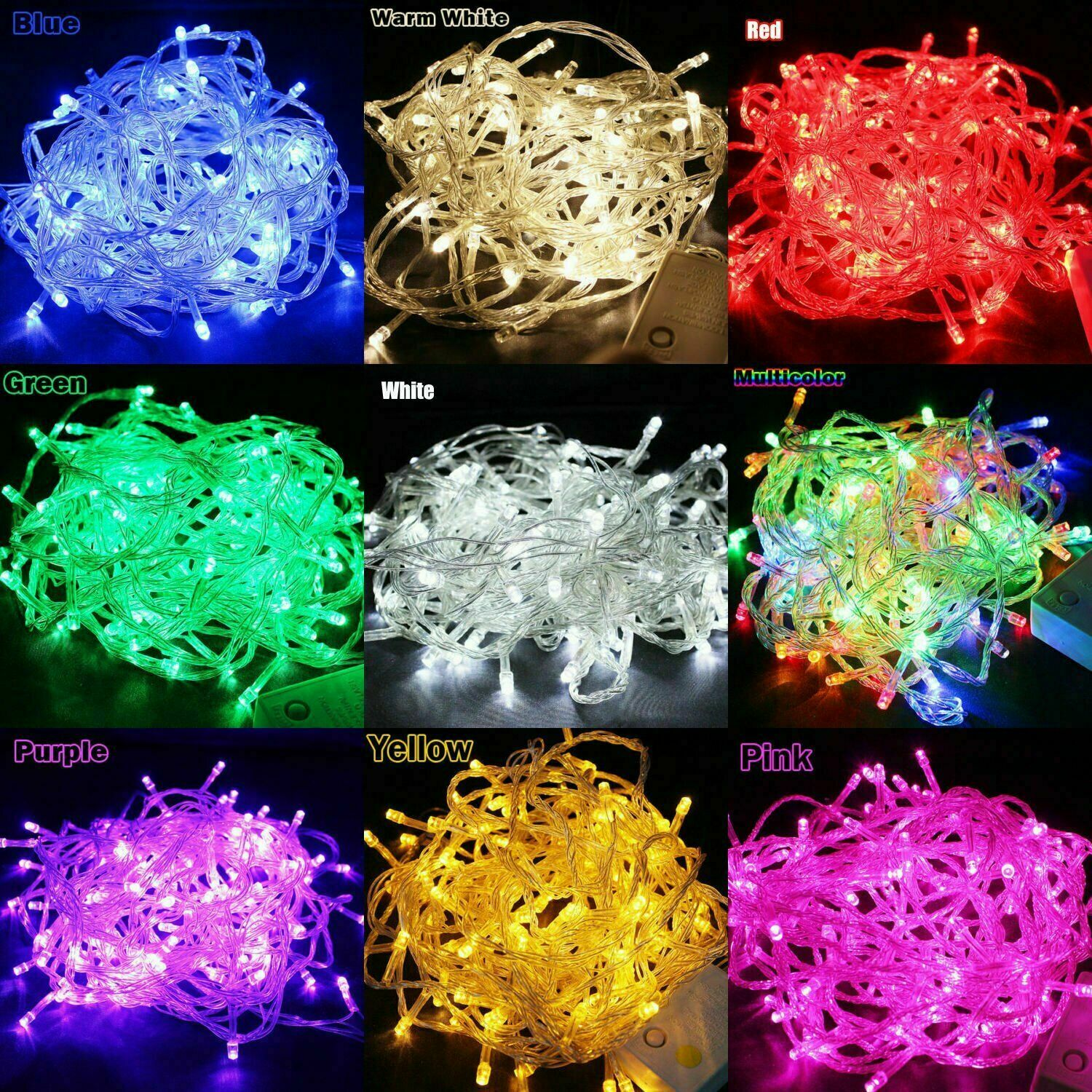 100 LED 10M Tree Fairy String Party Lights Waterproof Color Lamp Home & Garden