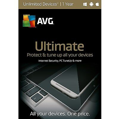 Nib  Avg Ultimate 2016 Unlimited Devices   1 Year   Free Upgrade To 2018