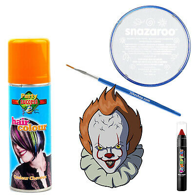Pennywise Halloween Makeup (Pennywise Stephen Kings IT Halloween Fancy Dress Makeup Kit Face-paint)