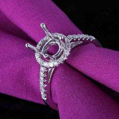 6-7mm Round Diamond Semi Mount Engagement Ring Prong Setting 14K White Gold Over 6 Prong Round Ring Setting