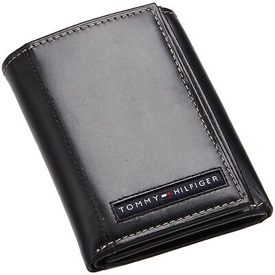 Tommy Hilfiger Mens Premium Leather Credit Card Id Wallet Trifold Black 5676 1