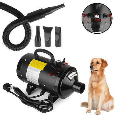 Profesional Secador de Pelo Perros Animales Pet Dryer 2400W Negro DHL