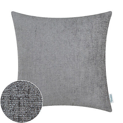 2Pcs Grey Cushion Covers Pillow Shell Solid Dyed Soft Chenille Sofa Decor 22x22""