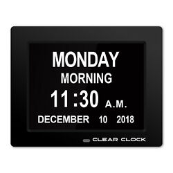Clear Clock Digital Memory Loss Day Clock With Alarm Dementia Clock Black Senior