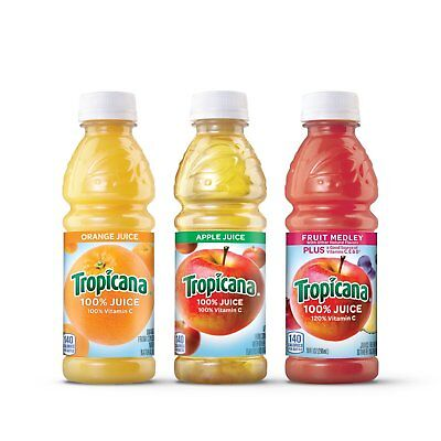 Tropicana Juice Classic Blend Variety Orange Apple Fruit 10 oz Bottles - 24 ct.