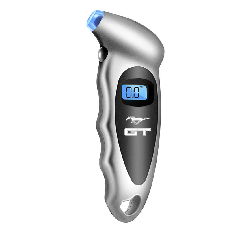 Ford Mustang GT Silver Digital Tire Pressure Gauge with LED-Backlit LCD Display