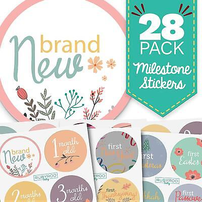 Monthly Baby Stickers   28 First Year Milestone Sticker Pack For Girl  Flrl