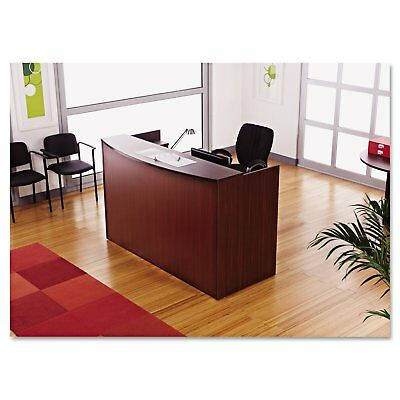 Laminate Office Furniture Reception Desk in Mahogany Finish w/1 Hanging Pedestal - Laminate Office Furniture
