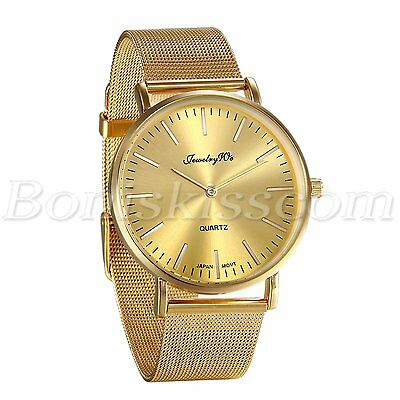 Men Fashion Luxury Gold Tone Stainless Steel Mesh Band Analog Quartz Wrist Watch