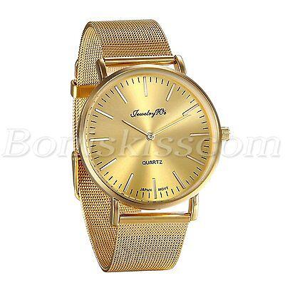 Men Fashion Luxury Gold Tone Stainless Steel Mesh Band Analog Quartz Wrist Watch Analog Gold Tone Wrist Watch