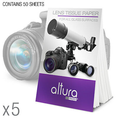 - 5 Booklets 250 Cleaning Tissues for DSLR Camera Lens & Filters by Altura Photo®