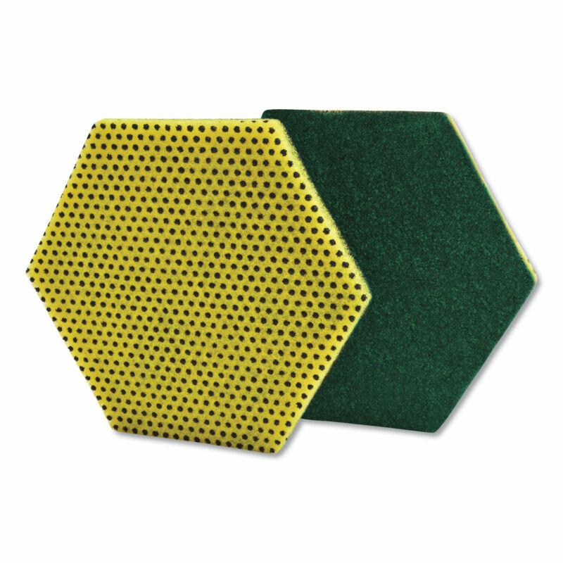 "Scotch-Brite Dual Purpose Scour Pad, 5"" x 5"", Gray/Yellow, 15/Carton 96HEX"