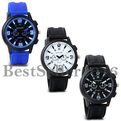 - Mens Boys Big Face Sports Watch Silicone Band Sport Outdoor Casual Wristwatch