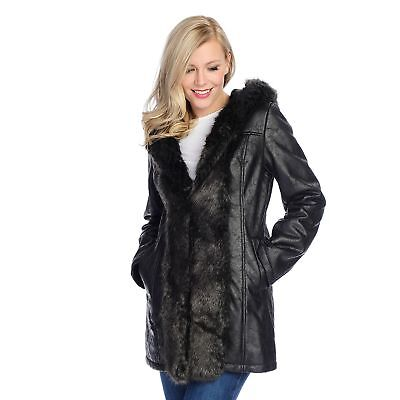 Donna Salyers' Faux Suede & Fur Mid-Length Hooded Coat Choose SM. or XS. $217.00 ()