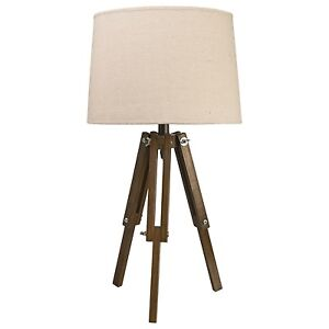 Colonial Vintage Style Tripod Table Lamp Natural Light Shade Dark Wood Legs NEW