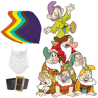 Snow White Seven Dwarfs Fancy Dress Set Hat Beard Belt Dopey Grumpy Fair Tale](Grumpy Dwarf Costume)