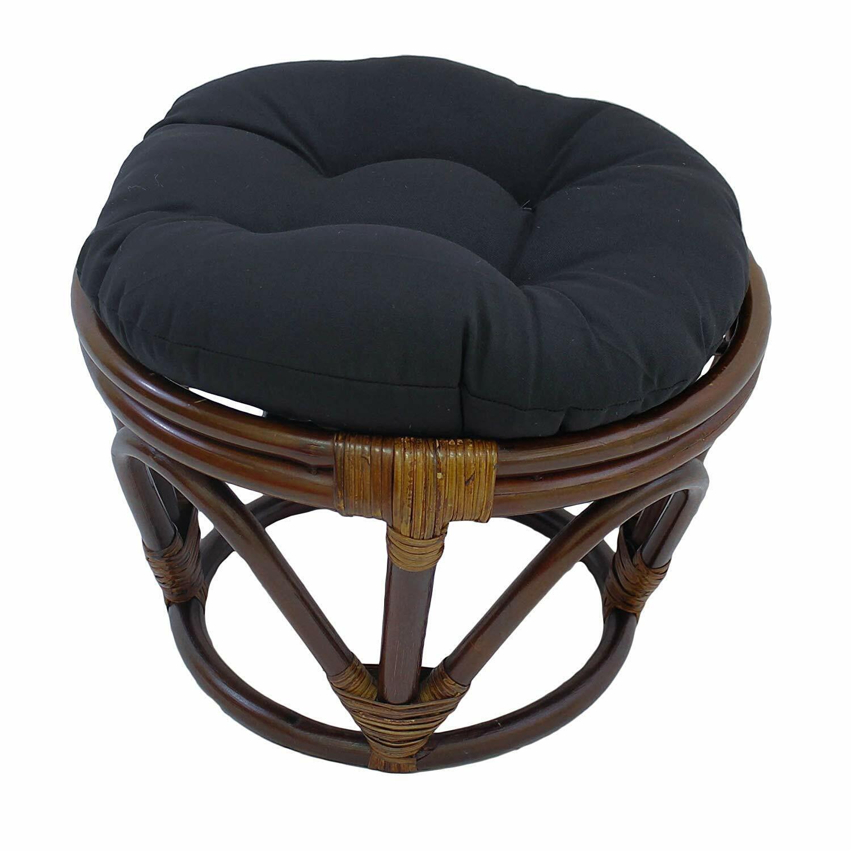"Blazing Needles Solid Twill Round Footstool Cushion, 18"", Bl"