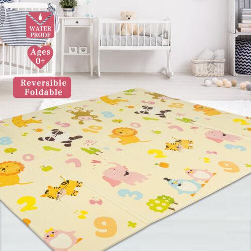 Baby Folding Kids Play Mat Reversible XPE Foam Floor Playmat 79x71x0.4in