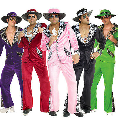 Mens PIMP DADDY Fancy Dress Costume L XL incl Hat 1970`s 70s Velvet Suit Group - 70s Men Costumes