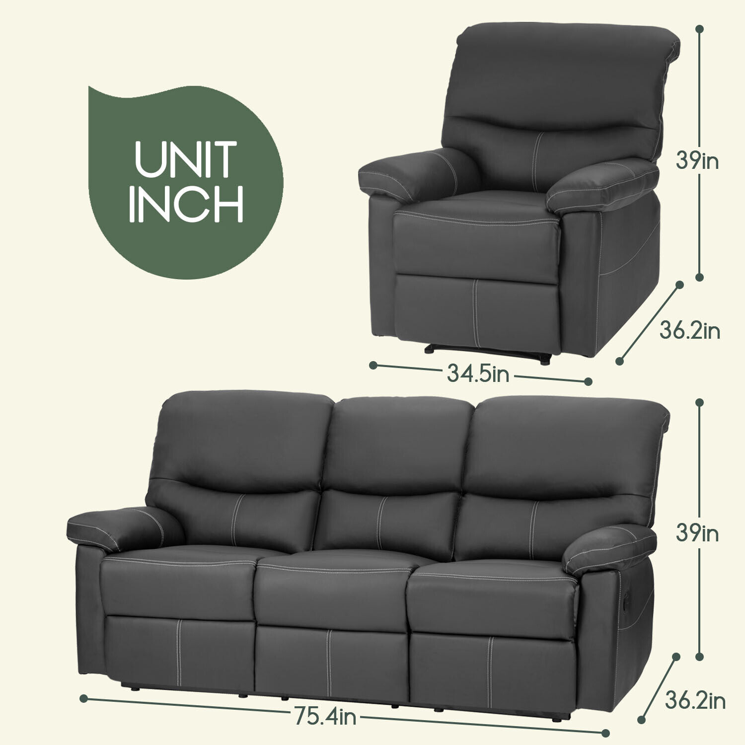 Recliner sofa leather living room 3 seater Home Theater Seating Furniture