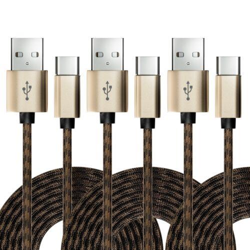 3x USB-C Kabel Nylon Ladekabel Datenkabel USB Typ C Handy Smartphone Tablet HDD