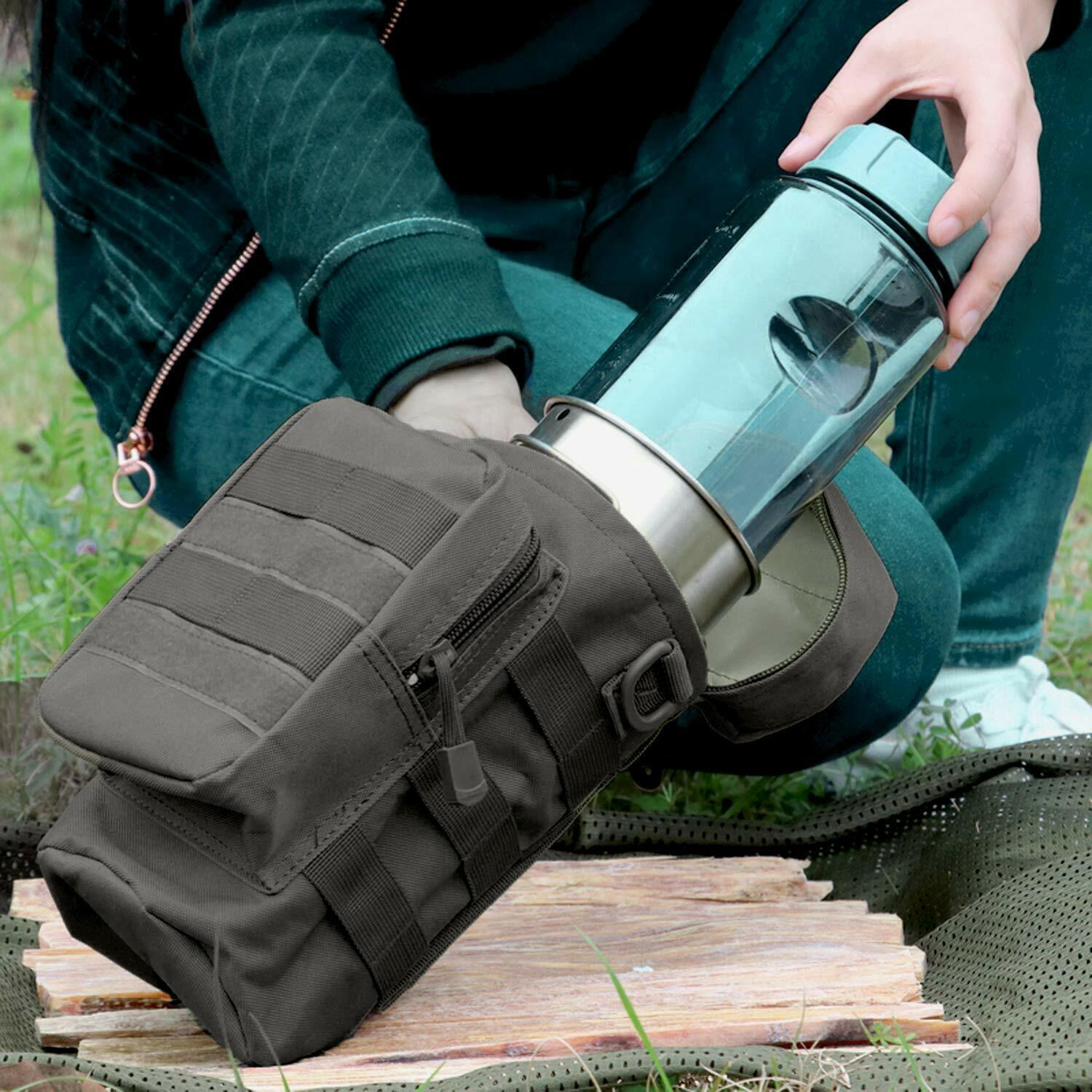 Military Water Bottle Pouch Holder Tactical Hiking Kettle Gear Molle Pack Bag US Hunting