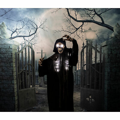 Life-Size Animated Grim Reaper Prop w/ Flashing Eyes and Ribs for Indoor or Out