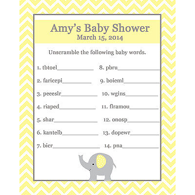 24 Baby Shower Word Scramble Game Cards  - Elephant Design