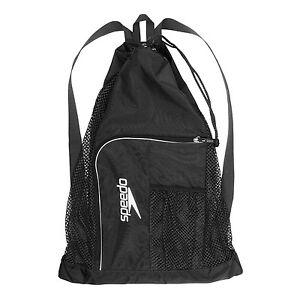 Speedo Swim Deluxe Ventilator Mesh Equipment Pool Gear Swimming Bag - Black