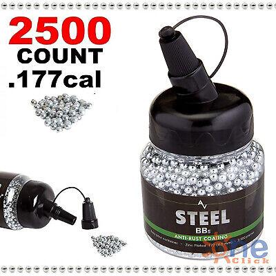 Count Bbs - Airgun Pistol BBs Pellets Steel Metal Ammo for BB Gun .177 Cal 2500 Count Bottle