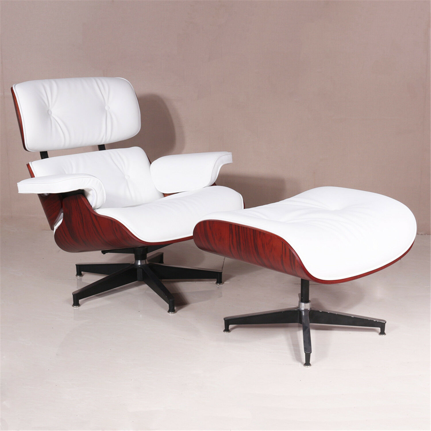 Magnificent Details About Top Rosewood Lounge Chair Ottoman Eames White Full Grain Leather Ncnpc Chair Design For Home Ncnpcorg