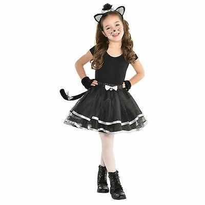Mädchen Schwarz Silber Katze Verkleidung Satz Tutu Glitzer Sparkle Kostüm - Schwarze Katze Tutu Kostüm