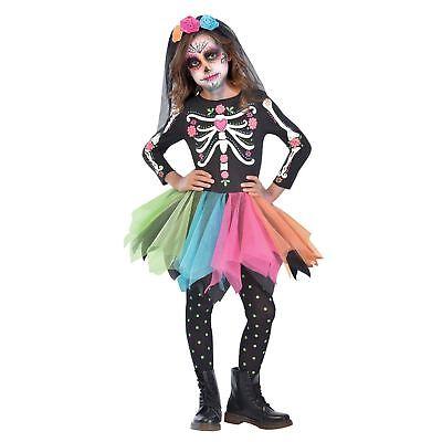 Girls Sugar Skull Costume Kids Skeleton Day Of The Dead Halloween Fancy - Sugar Skull Kid Kostüm