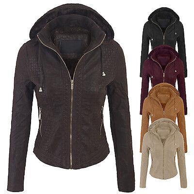 (Clearance) Women's Faux Suede Leather Hoodie Bomber Jacket with Removable hood