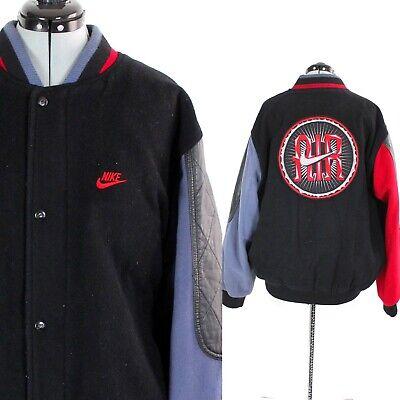 Vtg 90s NIKE AIR Varsity Jacket BLACK Letterman WOOL & LEATHER Bomber Coat Med Nike Wool Jacket