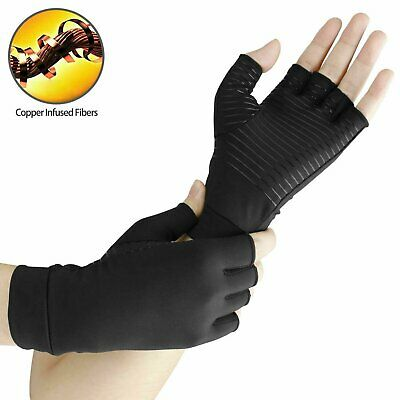 2pcs Copper Arthritis Compression Gloves Hand Support Joint Pain Relief USA Health & Beauty